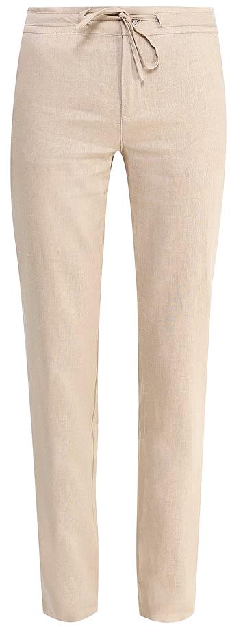 Брюки женские Sela, цвет: бежевый. P-115/752-7244. Размер 44P-115/752-7244Стильные брюкиSela, изготовленные изо льна с добавлением хлопка, станут отличным дополнением гардероба в летний период. Брюки полуприлегающего кроя и стандартной посадки на талии застегиваются на застежку-молнию и пуговицу. Пояс дополнительно регулируется тесьмой. Модель дополнена двумя втачными карманами спереди и двумя прорезными карманами сзади.