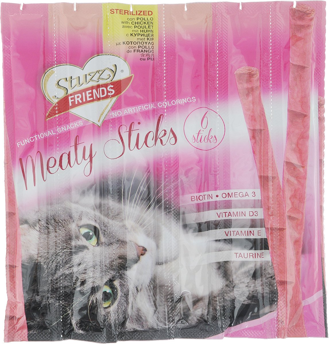 Лакомство для взрослых кошек Stuzzy Friend. Палочки, для стерилизованных кошек, курица, 5 шт132.C3602Палочки Stuzzy Friend. Палочка - вкусное и здоровое угощение для кошек. Лакомство обогащено таурином и витамином Е для поддержания правильной работы сердца и иммунной системы. Инулин обеспечивает всасывание питательных веществ, а биотин способствуют великолепному внешнему виду кожи и шерсти. Оригинальная форма и текстура помогают чистить зубы кошки от налета. Не содержат искусственных красителей. Лакомство предназначено для взрослых стерилизованных кошек. Товар сертифицирован.