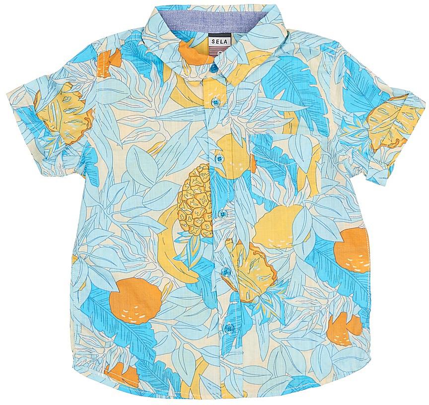 Рубашка для мальчика Sela, цвет: сливочный. Hs-712/448-7214. Размер 98, 3 годаHs-712/448-7214Стильная рубашка для мальчика Sela выполнена из натурального хлопка и оформлена ярким принтом. Модель прямого кроя с короткими рукавами и отложным воротничком застегивается на пуговицы и дополнена накладным карманом на груди.Яркий цвет модели позволяет создавать стильные летние образы.