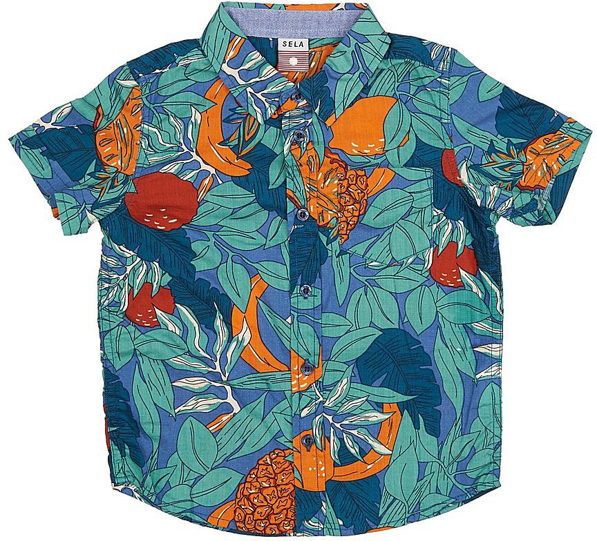 Рубашка для мальчика Sela, цвет: деним. Hs-712/448-7214. Размер 104, 4 годаHs-712/448-7214Стильная рубашка для мальчика Sela выполнена из натурального хлопка и оформлена ярким принтом. Модель прямого кроя с короткими рукавами и отложным воротничком застегивается на пуговицы и дополнена накладным карманом на груди.Яркий цвет модели позволяет создавать стильные летние образы.