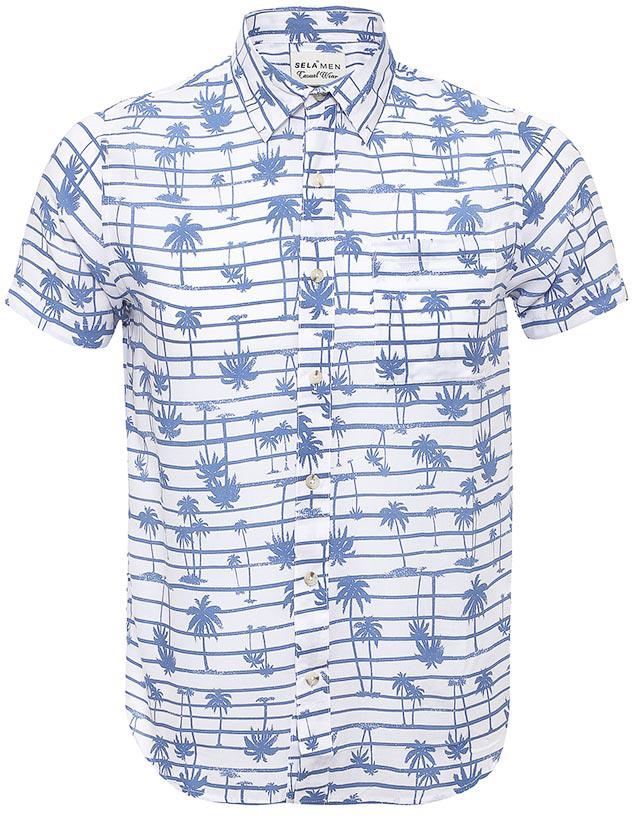 Рубашка мужская Sela, цвет: белый. Hs-212/764-7214. Размер 40 (46)Hs-212/764-7214Стильная мужская рубашка Sela выполнена из легкого материала и оформлена принтом в горизонтальную полоску с изображением пальм. Модель прямого кроя с короткими рукавами и отложным воротничком застегивается на пуговицы и дополнена накладным карманом на груди.Яркий цвет модели позволяет создавать стильные летние образы.