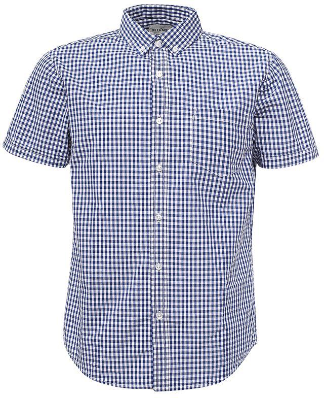 все цены на  Рубашка мужская Sela, цвет: индиго. Hs-212/755-7213. Размер 42 (48)  онлайн