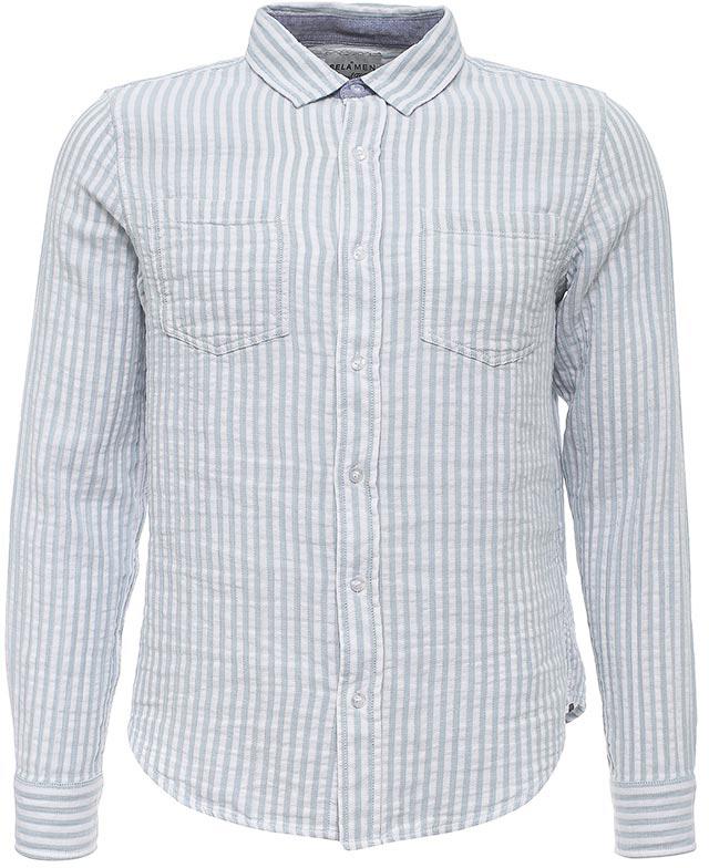 Рубашка мужская Sela, цвет: небесно-голубой. H-212/752-7213. Размер 40 (46)H-212/752-7213Стильная мужская рубашка Sela выполнена из натурального хлопка и оформлена принтом в полоску. Модель полуприлегающего кроя с длинными рукавами и отложным воротничком застегивается на пуговицы и дополнена двумя накладными карманами на груди. Манжеты рукавов также дополнены пуговицами. Универсальный цвет позволяет сочетать модель с любой одеждой.