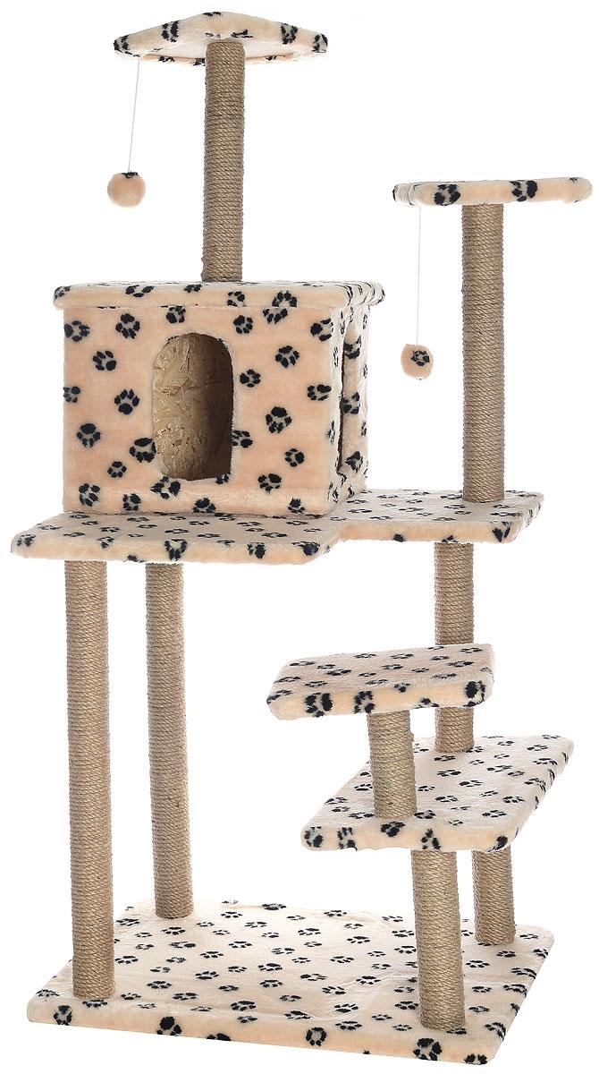 Игровой комплекс для кошек Меридиан Семейный, цвет: бежевый, черный, 70 х 65 х 150 смД162Ла_бежевый, черный лапкиИгровой комплекс для кошек Меридиан Семейный выполнен из высококачественного ДВП и ДСП и обтянут искусственным мехом. Изделие предназначено для кошек. Ваш домашний питомец будет с удовольствием точить когти о специальные столбики, изготовленные из джута. А отдохнуть он сможет либо на полках, либо в домике. Сверху имеются 2 подвесные игрушки, которые привлекут внимание кошки к когтеточке.Общий размер: 70 х 65 х 150 см.Размер полок: 31 х 31 см, 26 х 26 см (2 полки), 59 х 24 см.Размер домика: 41 х 33 х 35 см.