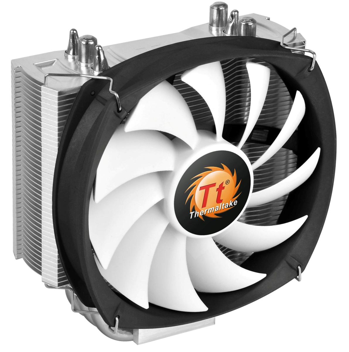 Thermaltake Frio Silent 12 система охлаждения для процессораCL-P001-AL12BL-BFrio Silent 12 -это новинка от Thermaltake из серии кулеров Frio Silent. Новинка унаследовала башенный дизайн с узкими пластинами радиатора. Это позволяет добиться большего пространства вокруг процессорного разъема для установки высокопроизводительных оверклокерских модулей оперативной памяти. Специально спроектированный 120 мм охлаждающий вентилятор имеет высокую эффективность и низкий уровень шума.Frio Slient 12 решает проблему установки модулей оперативной памяти с высокими радиаторами, помогая при этом еще и улучшить качество их охлаждения.Специальные охлаждающие пластины радиатора толщиной 0,4 мм не только стильно выглядят, но и позволяют быстро отводить тепло.3 медные тепловые трубки диаметром по 8 мм соприкасаются с поверхностью крышки процессора по технологии прямого контакта, что позволяет ускорить процесс охлаждения.Уникальный 120 мм ШИМ вентилятор в низким уровнем шума и высокой эффективностью охлаждения. Скорость вращения крыльчатки достигает 1400 об/мин, а минимальный уровень шума в среднем меньше на 38%, с 19,2 дБ до 12 дБ.Полная совместимость со всеми существующими платформами от Intel(включая Haswell LGA1150) и AMD.