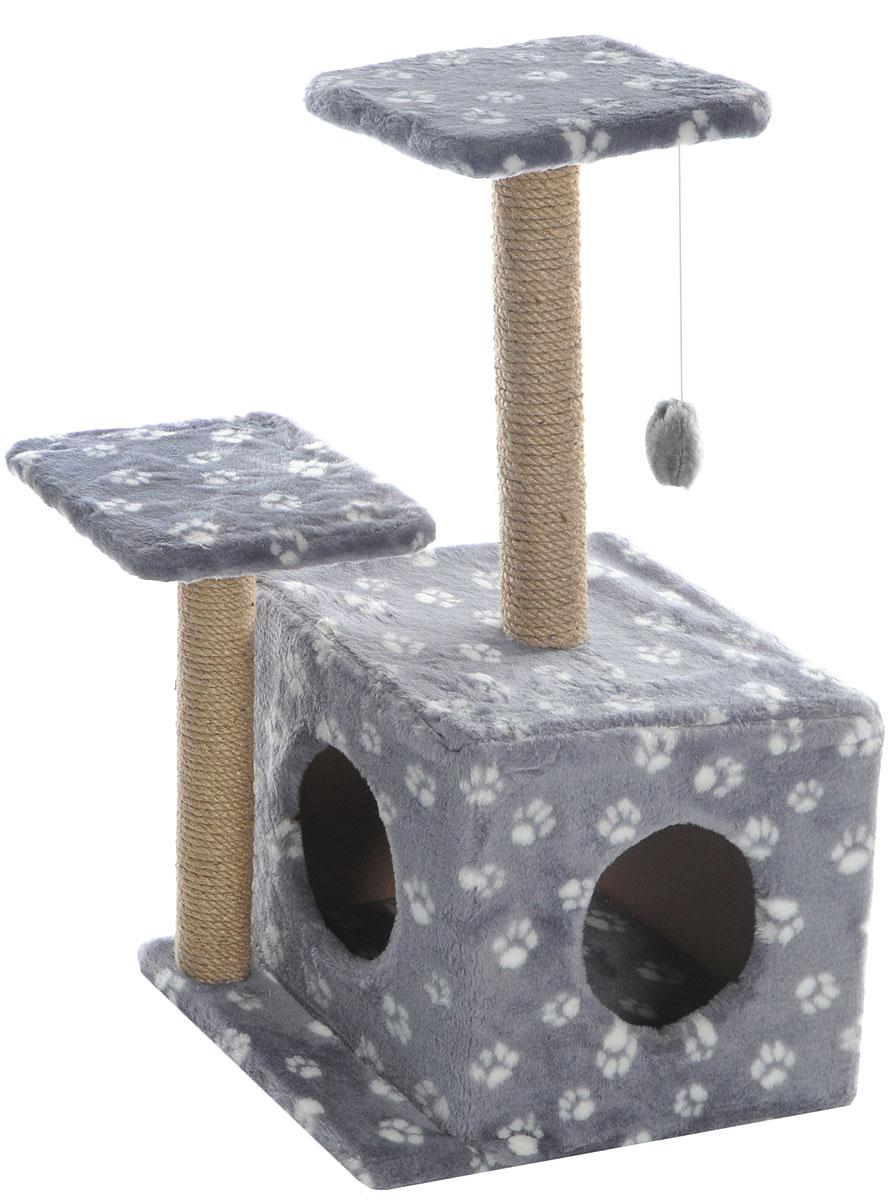 Игровой комплекс для кошек Меридиан, с домиком и когтеточкой, цвет: серый, белый, бежевый, 45 х 47 х 75 смД131 Ла_серый, белый лапкиИгровой комплекс для кошек Меридиан выполнен из высококачественного ДВП и ДСП и обтянут искусственным мехом. Изделие предназначено для кошек. Ваш домашний питомец будет с удовольствием точить когти о специальный столбик, изготовленный из джута. А отдохнуть он сможет либо на полках разной высоты, либо в расположенном внизу домике. Также комплекс оснащен подвесной игрушкой, которая привлечет вашего питомца.Общий размер: 45 х 47 х 75 см.Размер домика: 45 х 36 х 32 см.Высота полок (от пола): 75 см, 45 см.Размер полок: 26 х 26 см.