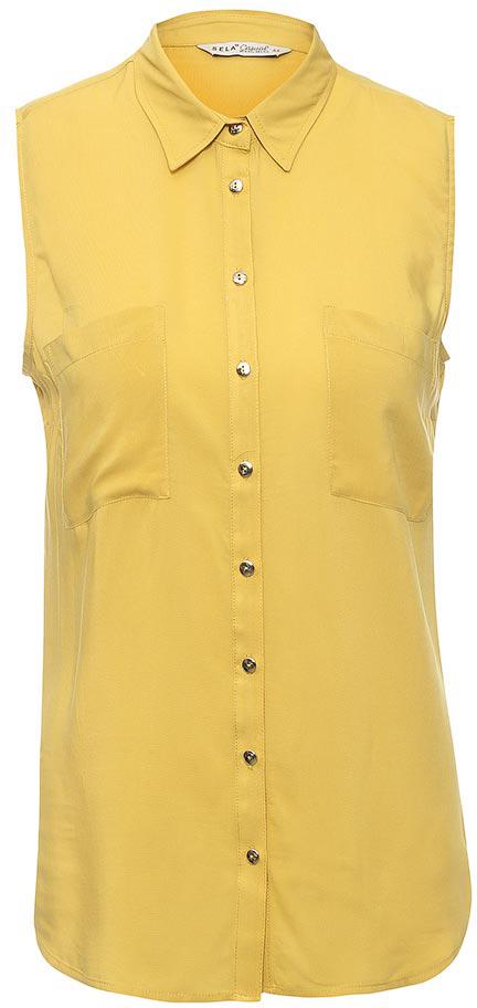 Блузка женская Sela, цвет: ярко-желтый. Bsl-112/1267-7263. Размер 42Bsl-112/1267-7263Стильная женская блузка без рукавов Sela выполнена из легкого воздушного материала. Модель прямого кроя с отложным воротничком застегивается на пуговицы и дополнена двумя накладными карманами. Блузка подойдет для офиса, прогулок и дружеских встреч и будет отлично сочетаться с джинсами и брюками, и гармонично смотреться с юбками. Мягкая ткань на основе вискозы комфортна и приятна на ощупь.