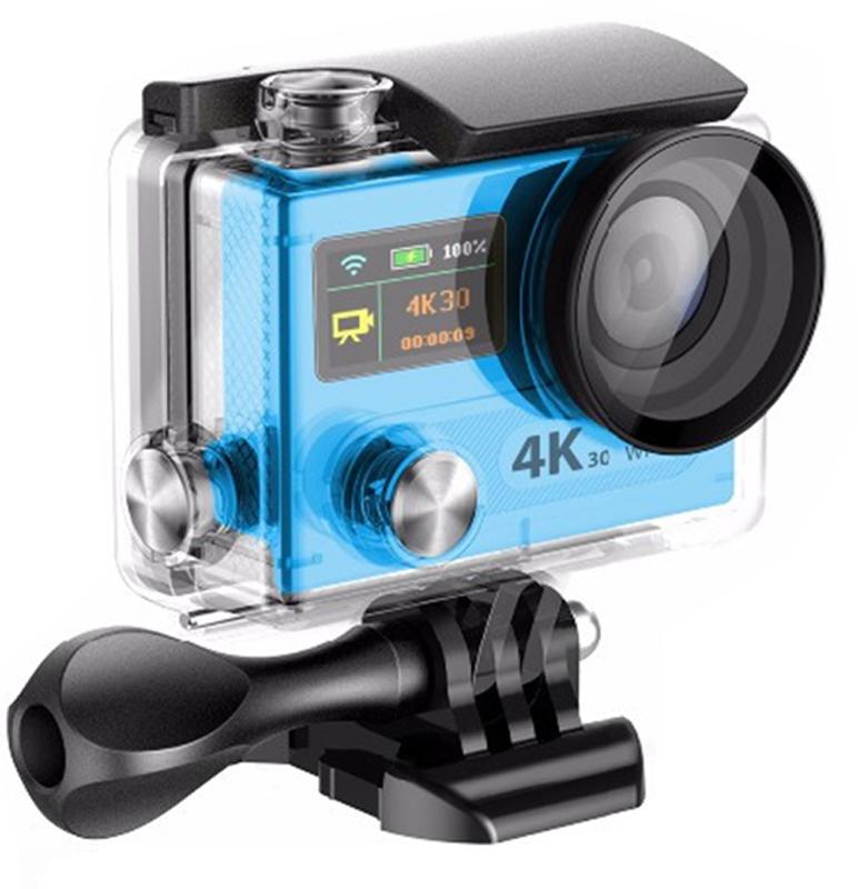 Eken H8R Ultra HD, Blue экшн-камераH8R BLUEЭкшн-камера Eken H8R Ultra HD позволяет записывать видео с разрешением 4К и очень плавным изображением до 30 кадров в секунду. Камера имеет два дисплея: 2 TFT LCD основной экран и 0.95 OLED экран статуса (уровень заряда батареи, подключение к WiFi, режим съемки и длительность записи). Эта модель сделана для любителей спорта на улице, подводного плавания, скейтбординга, скай-дайвинга, скалолазания, бега или охоты. Снимайте с руки, на велосипеде, в машине и где угодно. По сравнению с предыдущими версиями, в Eken H8R Ultra HD вы найдете уменьшенные размеры корпуса, увеличенный до 2-х дюймов экран, невероятную оптику и фантастическое разрешение изображения при съемке 30 кадров в секунду!Управляйте вашей H8R на своем смартфоне или планшете. Приложение Ez iCam App позволяет работать с браузером и наблюдать все то, что видит ваша камера. В комплекте с камерой идет пульт ДУ работающий на частоте 2,4 Ггц. Он позволяет начинать и заканчивать съемку удаленно.