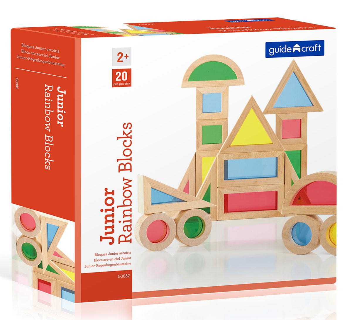 GuideCraft Конструктор деревянный Jr. Rainbow Blocks G3082 сортеры guidecraft сортер пирамидка stacking rainbow pyramid радужные блоки
