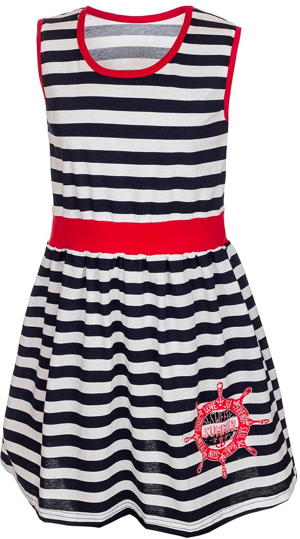 Платье для девочки M&D, цвет: белый, черный, красный. М72723. Размер 110М72723Платье для девочки M&D порадует ребенка своим модным дизайном. Изготовленное из мягкого хлопка, оно тактильно приятное, хорошо пропускает воздух. Платье с круглым вырезом горловины и без рукавов оформлено принтом в горизонтальную полоску. От линии талии заложены складочки, придающие платью пышность. Изделие обшито текстильной бейкой контрастного цвета по линии выреза горловины и рукавов. На талии широкая полоса однотонной контрастной ткани, а на подоле юбки платья имеется изображение корабельного штурвала и надписи на английском языке.