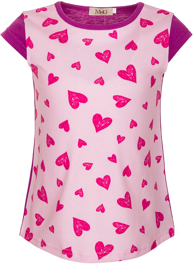 Футболка для девочки M&D, цвет: розовый, малиновый, фиолетовый. SJF27022M05. Размер 116SJF27022M05Футболка для девочки M&D исполнена из 100% натурального хлопка.Модель имеет круглый вырез горловины, дополненный трикотажной бейкой, рукав-крылышко.Футболка спереди оформлена ярким принтом в крупное сердечко. Нежная к телу и приятно оформленная текстильная футболка обязательно понравится ребенку и подарит ему комфорт.