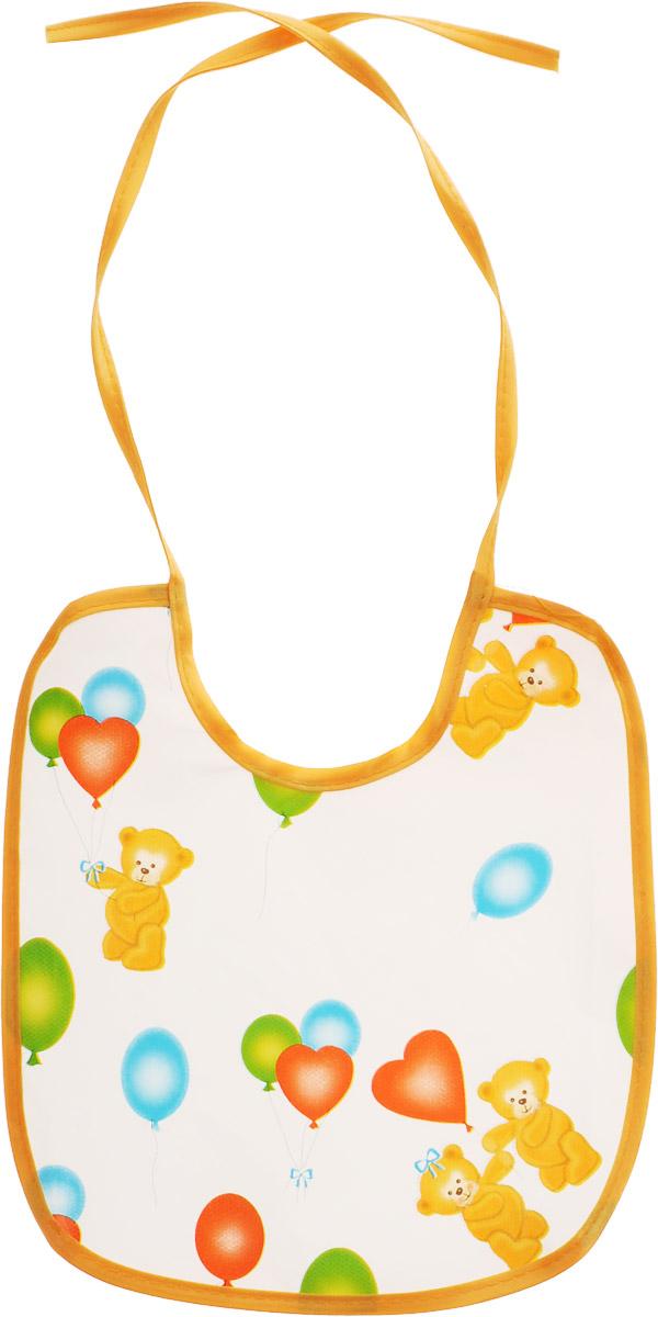 Колорит Нагрудник Мишки с шариками цвет белый оранжевый 20 см х 22 см