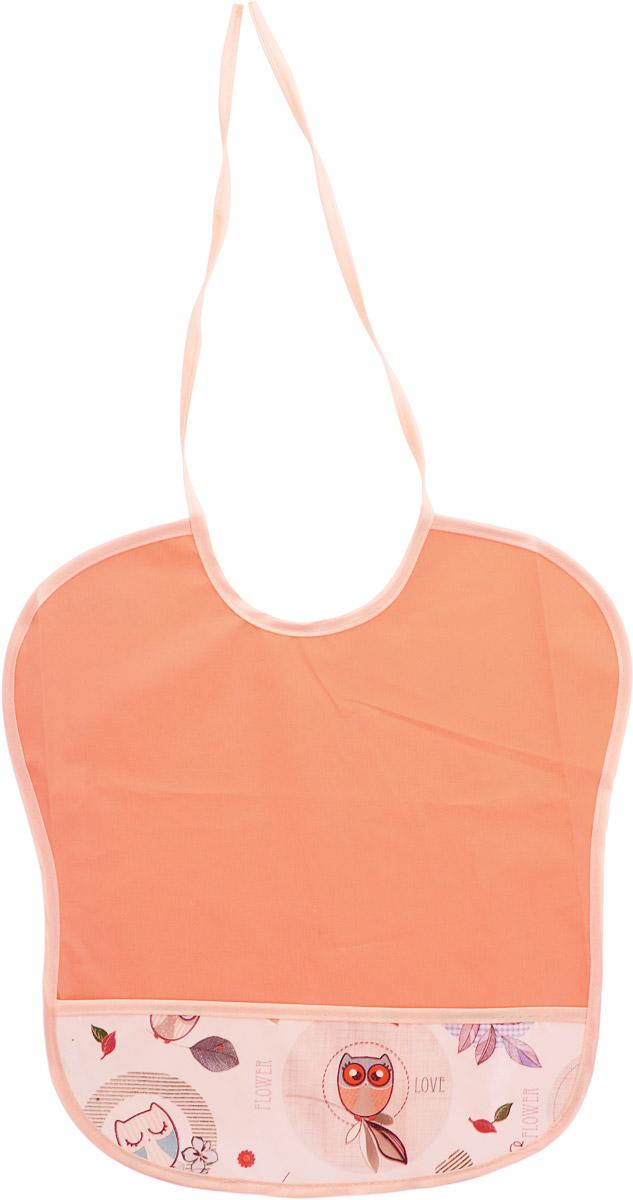 Колорит Нагрудник с карманом Совы цвет персиковый белый 33 см х 33 см