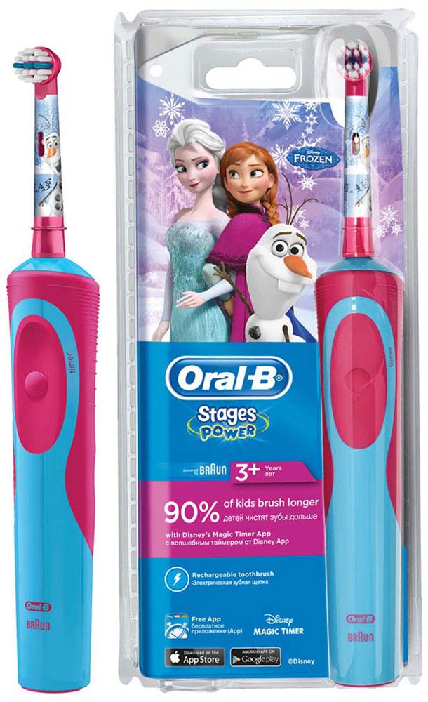 Детская электрическая зубная щетка Oral-B Stages Power Frozen80279915Электрическая зубная щетка Oral-B Stages Power Kids с веселыми героями мультфильма Холодное сердце прекрасно чистит зубы и удобно ложится в маленькие ручки ребенка. Эта аккумуляторная электрическая зубная щетка с экстрамягкими щетинками специально разработана для детей и совместима с приложением Disney MagicTimer от Oral-B. Скачайте приложение, чтобы помочь вашим детям чистить зубы рекомендуемые стоматологом 2 минуты и выработать правильные привычки по уходу за полостью рта, которые останутся с ребенком на всю жизнь. Приложение позволяет создать индивидуальный профиль с любимыми героями от Disney,имеет визуальный игровой таймер (мотивируя детей чистить зубы рекомендованные две минуты), а также систему вознаграждений за регулярную чистку и бесстрашные походы к врачу.Oral-B Vitality Frozen имеет 2D-технологию чистки и совершает 7000 возвратно-вращательных движений в минуту.Подходит для детей с 3 лет.