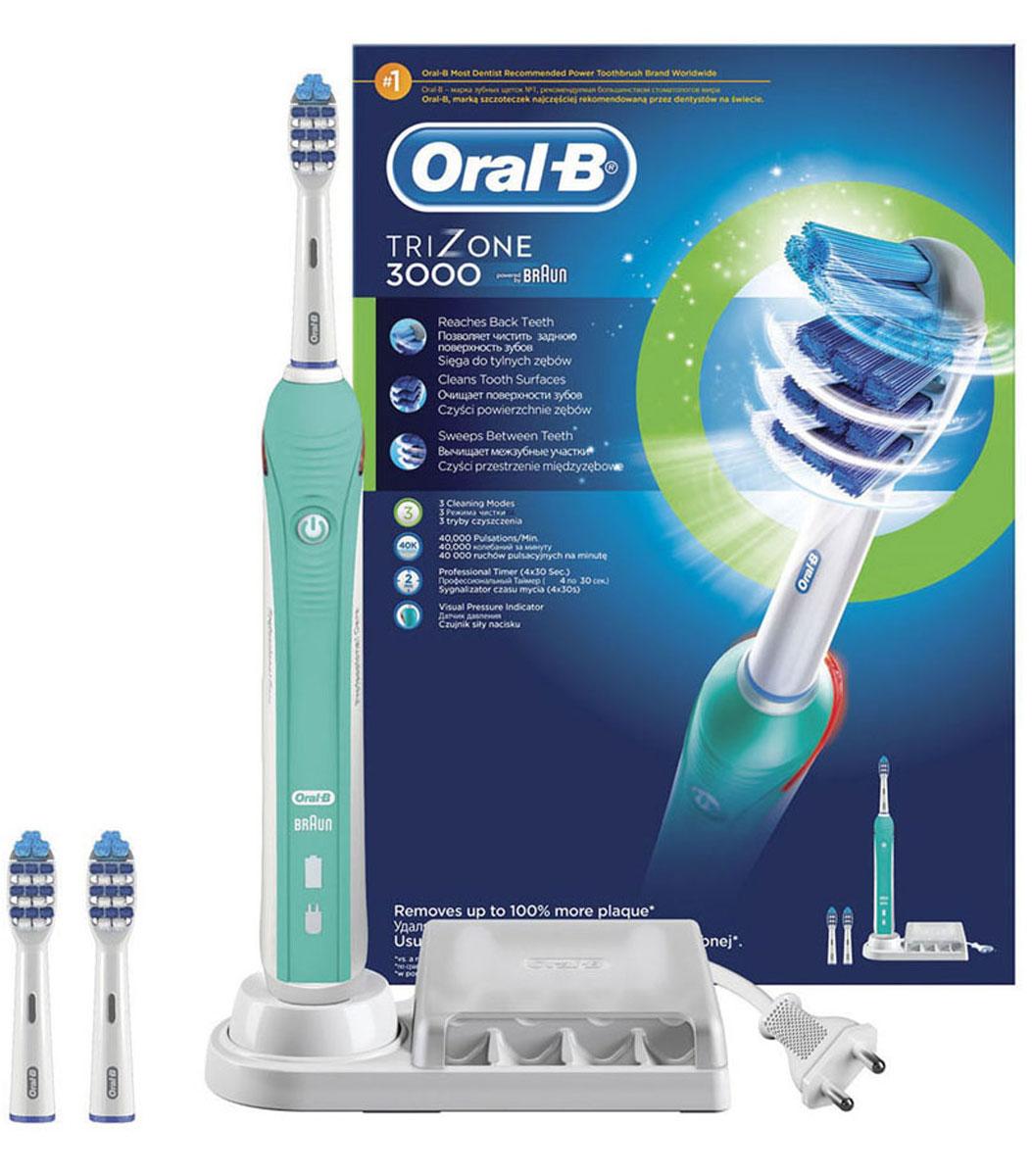 Электрическая зубная щетка Oral-B TriZone 3000CRS-80228236Благодаря специально разработанному дизайну головки зубная щетка TriZone достает до трудноступных мест, очищает поверхность зубов и проникает между зубами. Щетка разработана специально для тех, кто привык к классической технике чистки мануальной щеткой (выметающими движениями).Oral-B Trizone - единственная электрическая зубная щётка с использованием технологии трёхзонной чистки: Выступающие щетинки Power Tip очищают труднодоступные места, стационарная пульсирующая щетина качественно очищает поверхность зубов, а удлиненная вращающаяся пульсирующая щетина проникает в межзубное пространство. Головка щётки на 20% меньше по размеру, но покрывает площадь на 43% больше, чем головка мануальной щётки.Комплектация: аккумуляторная электрическая зубная щетка (1 шт.), сменная насадка Trizone (3 шт.), зарядное устройство (1 шт.) Три режима чистки: «Ежедневная чистка», «Для чувствительных зубов» и «Отбеливание».- Голубые щетинки Indicator обеспечиваются наполовину, сигнализируя о необходимости замены насадки (чтобы постоянно получать превосходный результат, менять насадку рекомендуется в среднем раз в 3 месяца). Подходит для детей с 3 лет. Перейдите на новый уровень чистки за 2 минуты!* Oral-B – марка зубных щеток №1, используемая большинством стоматологов мира!* (* на основании международных опросов P&G среди репрезентативной выборки стоматологов, проводимых регулярно, в т.ч. 2013-2015 гг.) * Удаляет до 100% больше зубного налета по сравнению с обычной зубной щеткой без изменения привычной техники чистки. * 3 режима чистки + встроенный таймер обеспечивают комплексный уход в учетом рекомендий стоматологов. * Oral-B представляет большое разнообразие сменных насадок для электрических щеток. Все щетки Oral-B с возвратно-вращательной технологией (включая щетку Trizone) cочетаются со всеми насадками Oral-B (кроме звуковой насадки Sonic). Вы сможете подобрать насадку, максимально отвечающую вашим потребностям. * Производится в Ге