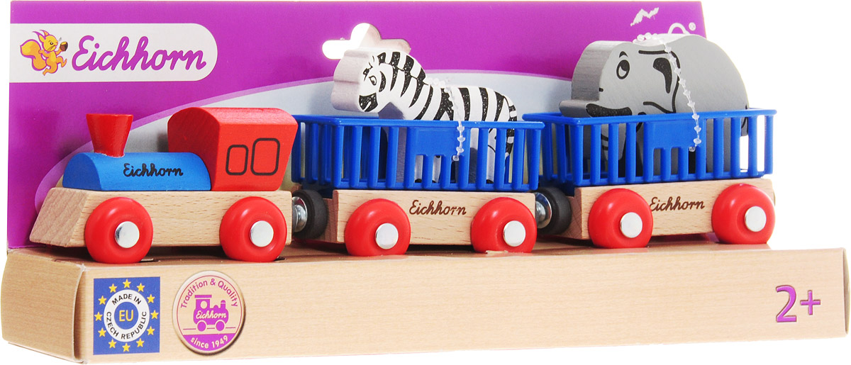 Eichhorn Поезд с 2 вагонами и животными - Железные дороги