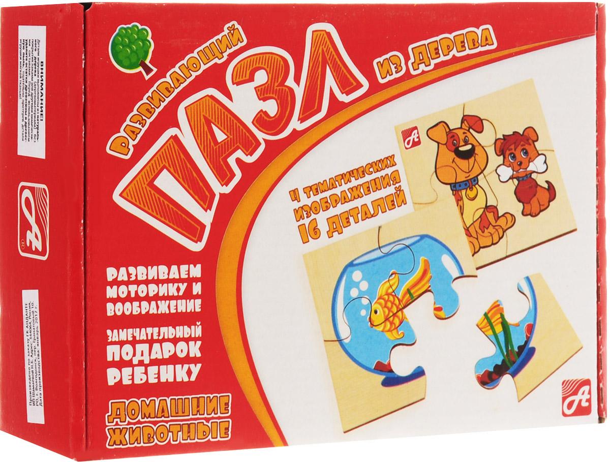 Развивающие деревянные игрушки Пазл для малышей Домашние животные 4 в 1
