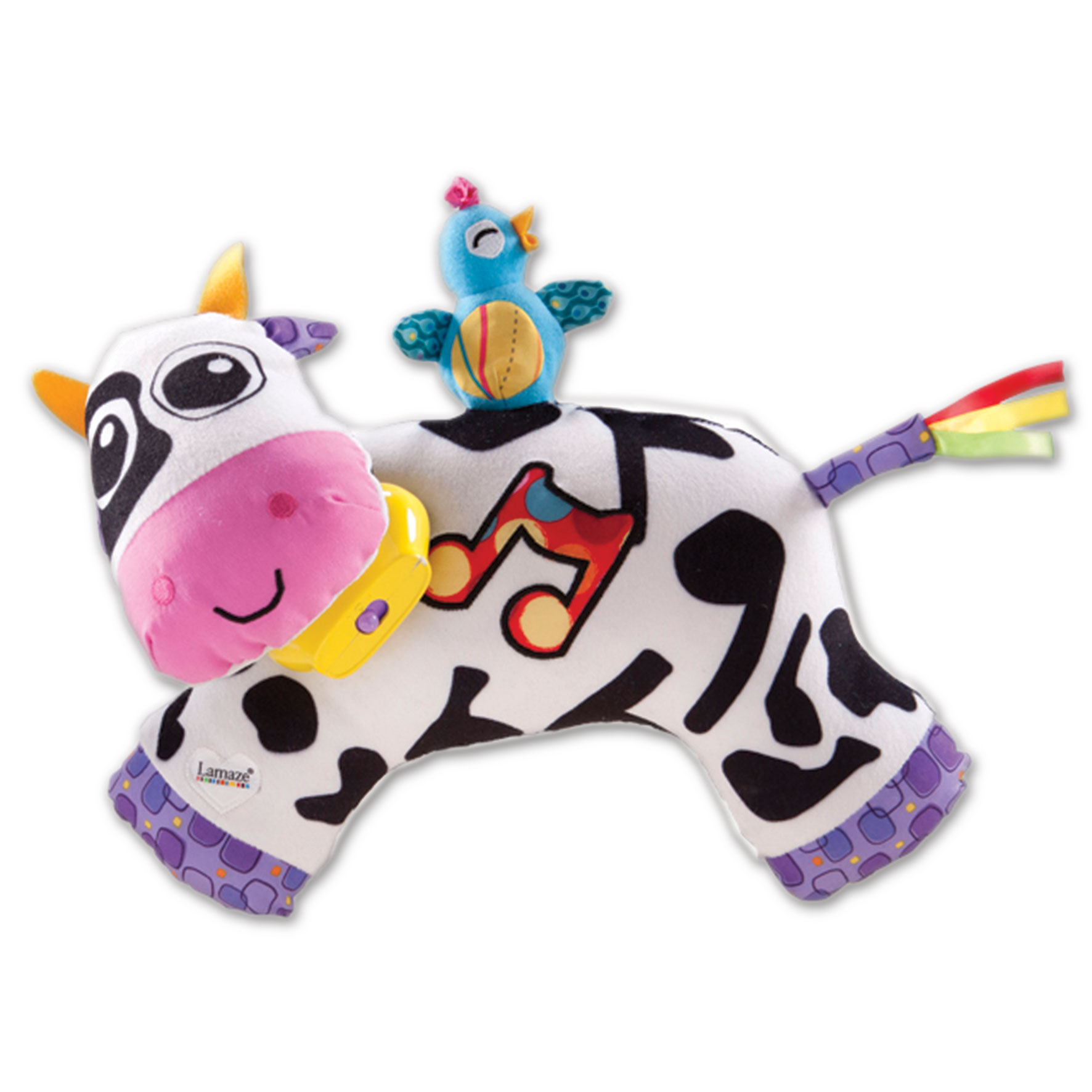 Lamaze Мягкая озвученная игрушка Музыкальная коровка plush apple мягкая озвученная игрушка монстр салли 35 см