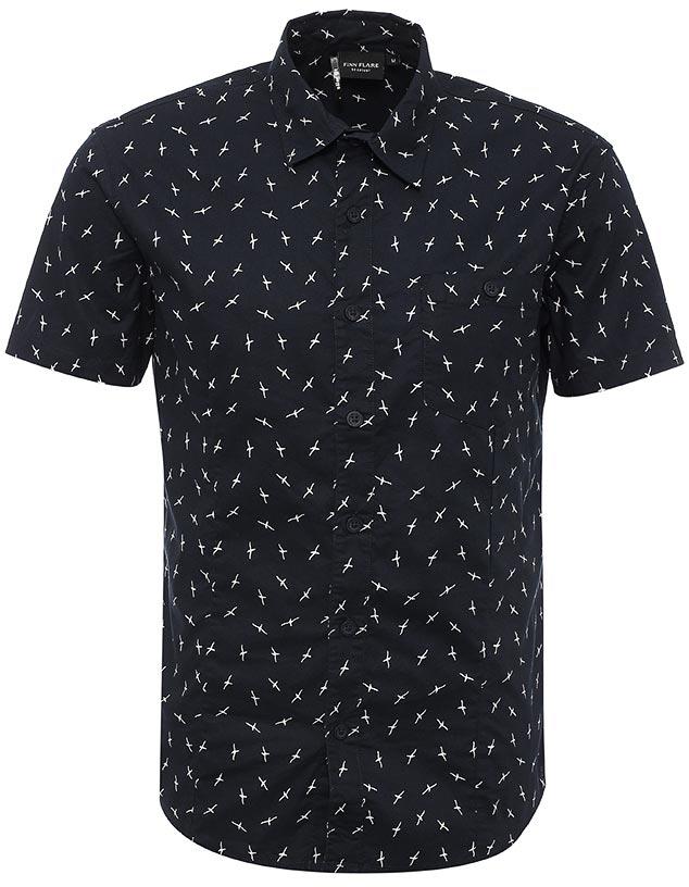 Рубашка мужская Finn Flare, цвет: темно-синий. S17-24016_101. Размер L (50)S17-24016_101Рубашка мужская Finn Flare выполнена из хлопка. Модель с отложным воротником и короткими рукавами застегивается на пуговицы.
