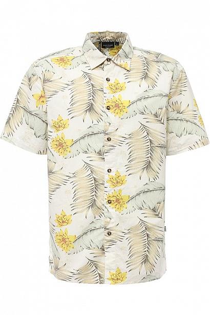 Рубашка мужская Finn Flare, цвет: молочный. S17-24014_711. Размер L (50)S17-24014_711Рубашка мужская Finn Flare выполнена из натурального хлопка. Модель с отложным воротником и короткими рукавами застегивается на пуговицы.