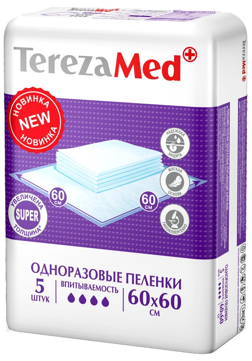 TerezaMed Пеленки одноразовые впитывающие Super 60 х 60 см 5 шт пеленки terezamed пеленки normal 10 шт