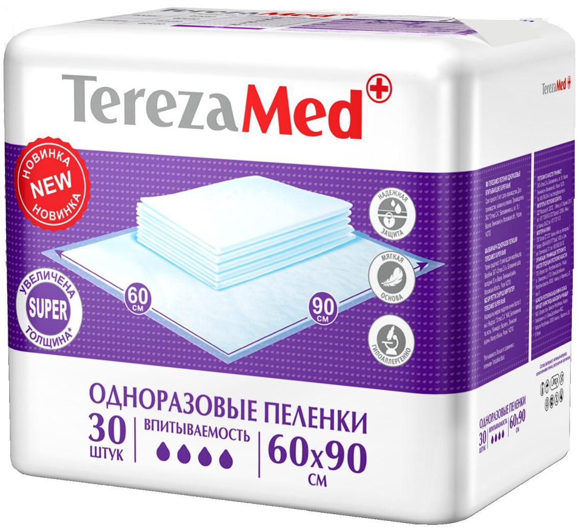 TerezaMed Пеленки одноразовые впитывающие Super 60 х 90 см 30 шт пеленки terezamed пеленки normal 10 шт