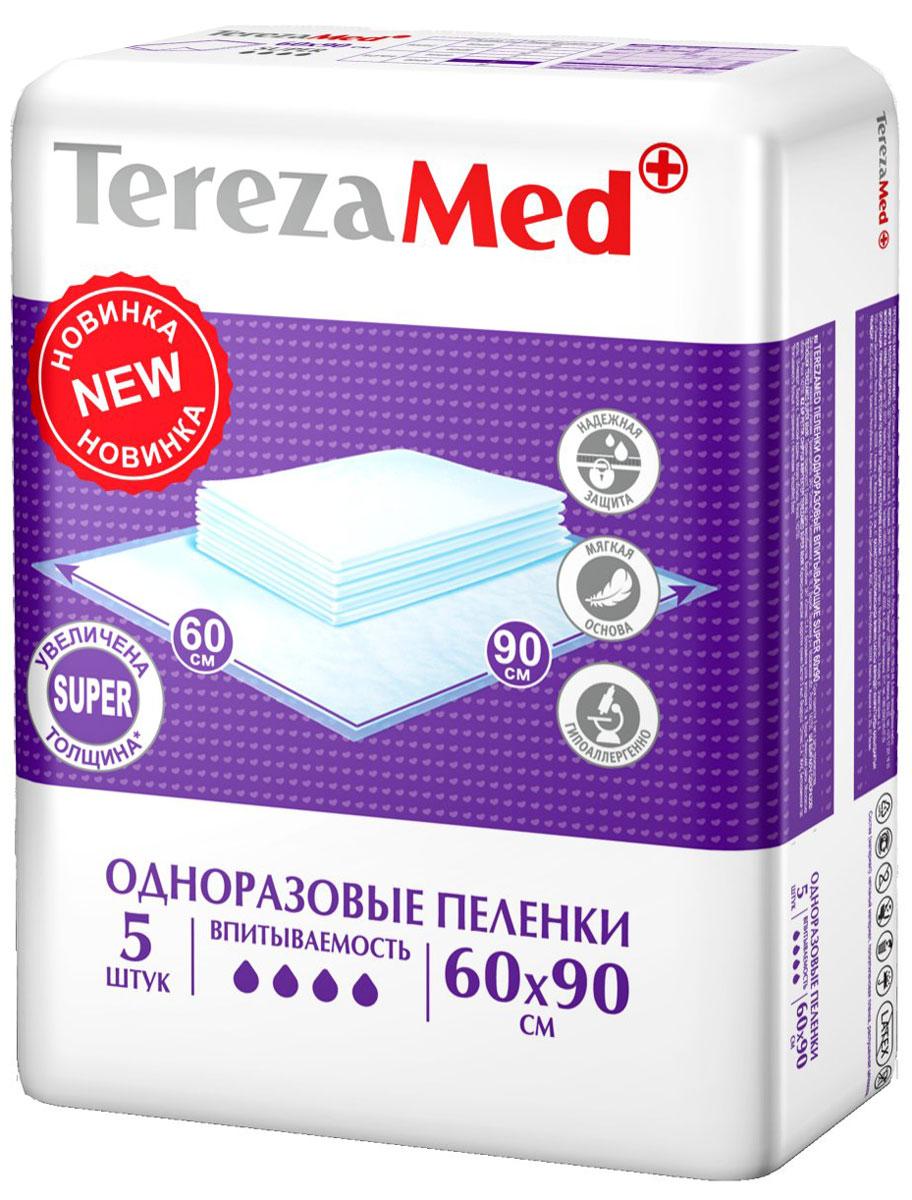 TerezaMed Пеленки одноразовые впитывающие Super 60 х 90 см 5 шт пеленки terezamed пеленки normal 10 шт
