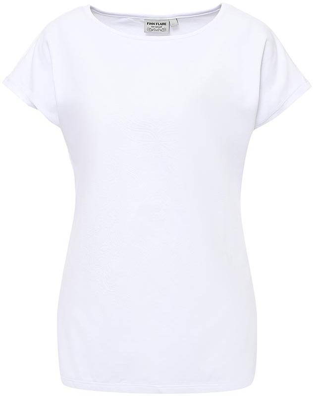 Футболка женская Finn Flare, цвет: белый. S17-11095_201. Размер L (48)S17-11095_201Футболка женская Finn Flare выполнена из хлопка и эластана. Модель с круглым вырезом горловины и короткими рукавами.