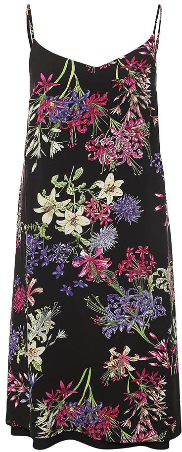 Платье Finn Flare, цвет: черный. S17-11065_200. Размер S (44)S17-11065_200Платье Finn Flare выполнено из 100% вискозы. Модель на бретельках оформлена оригинальным принтом.