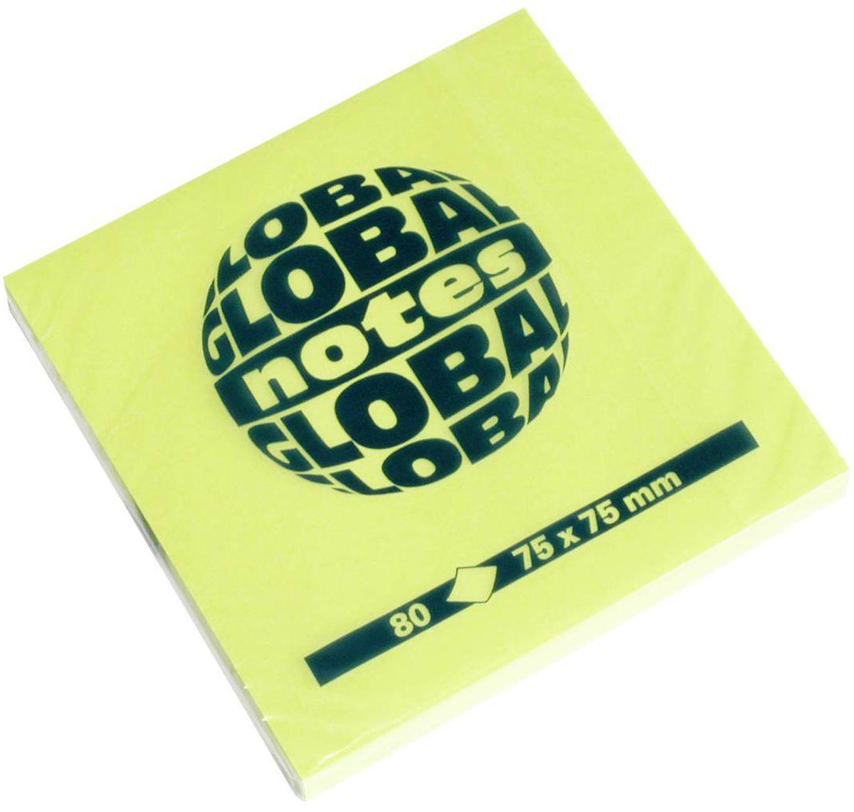 Global Notes Бумага для заметок с липким слоем цвет зеленый 7,5 х 7,5 см 80 листов365433Бумага для заметок с липким слоем Global Notes - это удобное и практичное решение для быстрой записи информации дома или на работе. Качественная клеевая полоса рассчитана на крепление к любой поверхности, позволяет приклеивать и отклеивать листок неограниченное количество раз, не оставляя следов.
