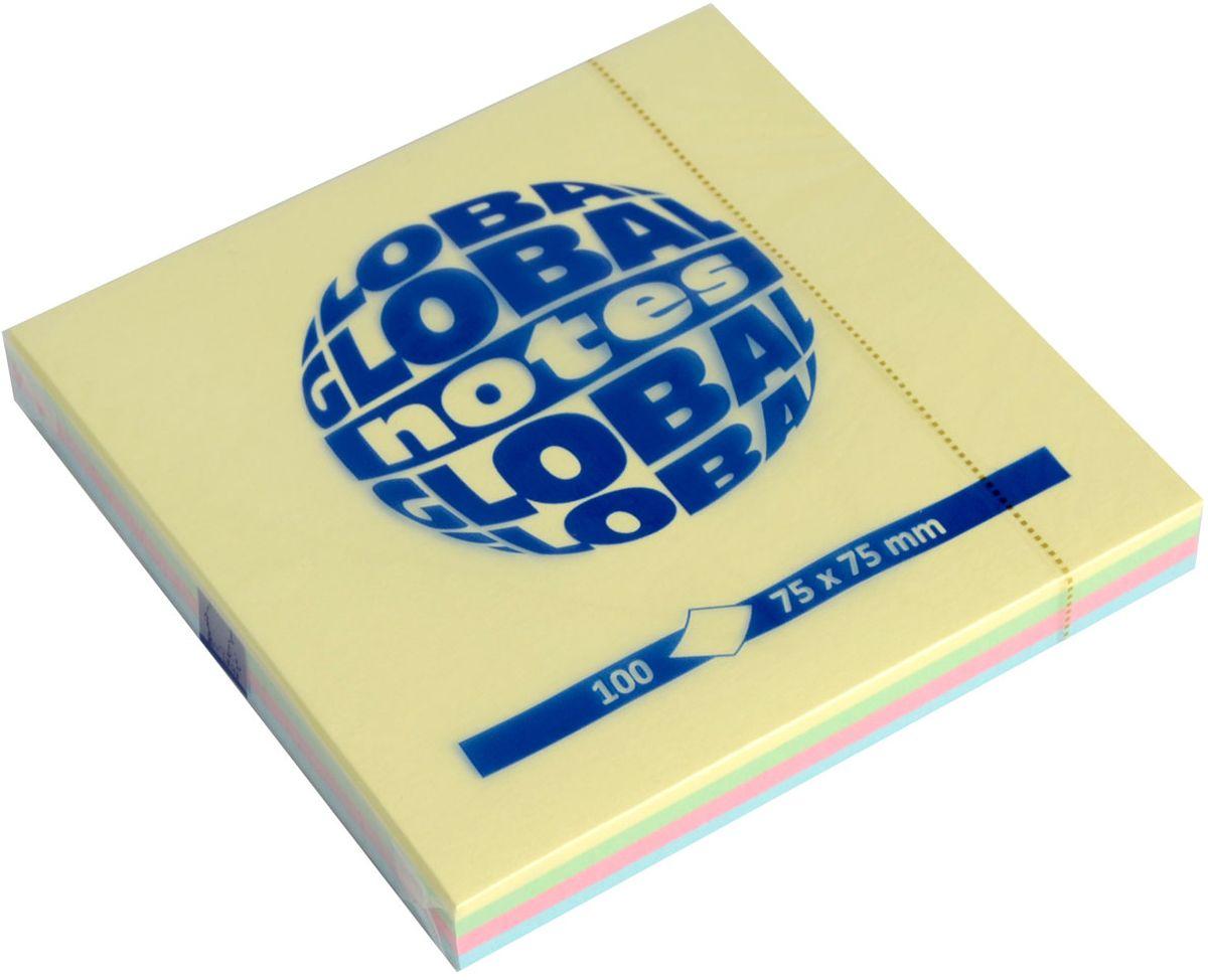 Global Notes Бумага для заметок с липким слоем Радуга 100 листов365498Бумага с клеевым слоем. Размер 75х75 мм, в блоке 100 листов. Пастельные цветаПлотность бумаги 70гр/м2
