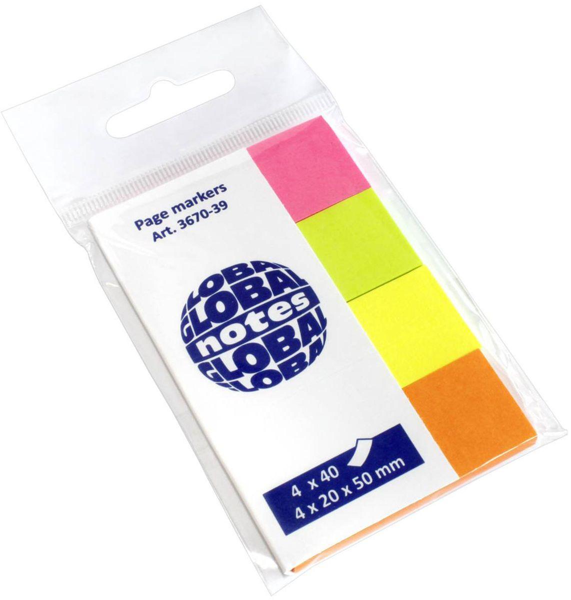Global Notes Блок-закладка с липким слоем 160 листов 367039367039Закладки бумажные с клеевым слоем предназначены для наиболее эффективного выделения важной информации без повреждения книги или документа. Идеально подходят для быстрой и эффективной работы. 160 листов, 4 ярких цвета. Размер 20х50 ммТолщина бумаги 50 мкр.