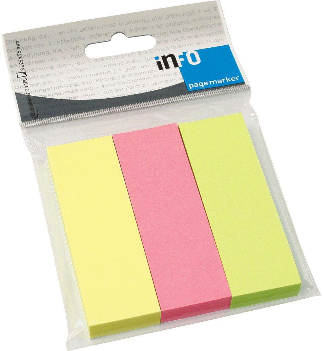 Global Notes Блок-закладка с липким слоем 300 листов567139Бумажные закладки с липким слоем предназначены для наиболее эффективного выделения важной информации без повреждения книги или документа. Идеально подходят для быстрой и эффективной работы - просто выдели и найди. Размер 25х75 мм. 100 листов, 3 цветаТолщина бумаги 50 мкр.