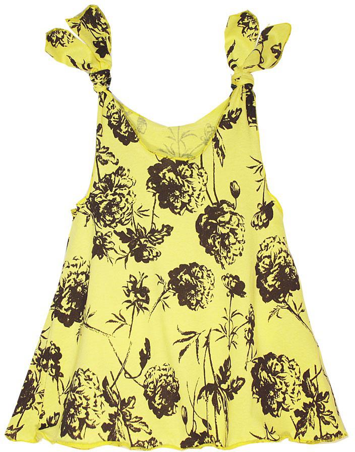 Платье для девочки КотМарКот, цвет: желтый, темно-коричневый. 21408. Размер 12221408Платье КотМарКот выполнено из натурального хлопка, приятного на ощупь. Модель с круглым воротником без рукавов оформлена оригинальным принтом.