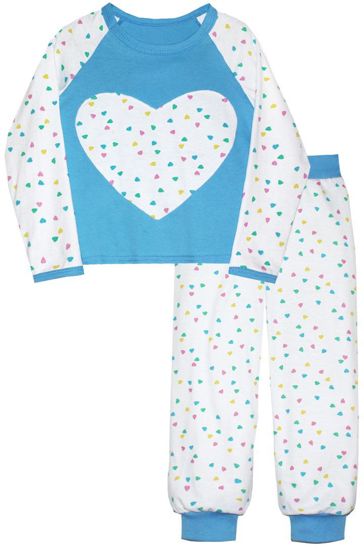 Пижама для девочки КотМарКот, цвет: голубой, белый. 16513. Размер 12816513Пижама для девочки КотМарКот изготовлена из натурального хлопка и состоит из кофточки и брючек. Кофточка выполнена с длинными рукавами и удобным круглым воротом. Штанишки на талии собраны на эластичную резинку. Кофточка оформлена крупной оригинальной аппликацией в виде сердца. Манжеты брюк, рукавов и горловина кофты отделаны эластичными мягкими резинками.