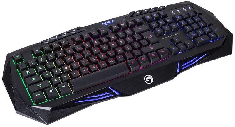 Marvo K614 игровая клавиатураK614Marvo K614 - это игровая клавиатура, которая позволит вам получить совершенно новые ощущения от игр и работы за компьютером. Каждая ее клавиша рассчитана на миллионы нажатий. Помимо стандартных клавиш эта модель оснащена 8-ю дополнительными мультимедийными клавишами. Установка осуществляется автоматически после подключения к USB-порту ПК.Как выбрать игровую клавиатуру. Статья OZON Гид