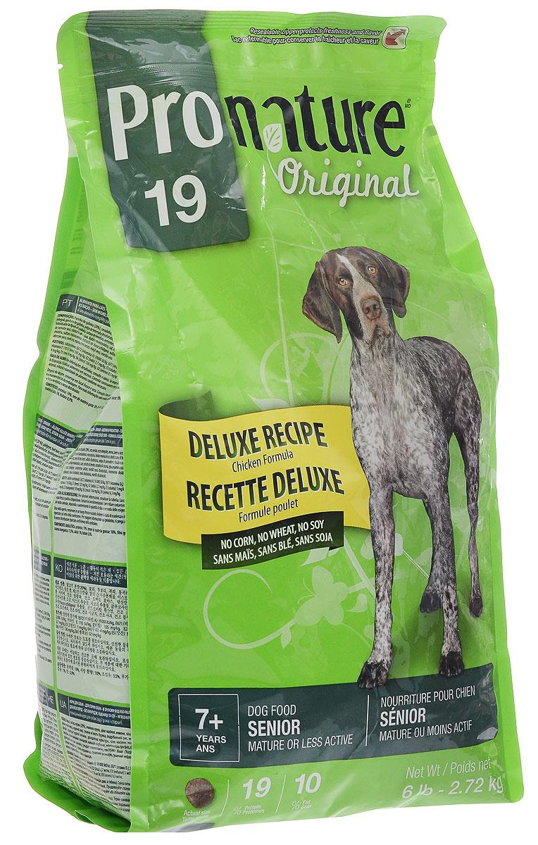 Корм сухой Pronature Original 19 для пожилых собак зрелого возраста или малоактивных, с курицей, 2,72 кг102.490Сухой корм Pronature Original 19 является полнорационным кормом для пожилых собак зрелого возраста (от 7 лет и старше) или малоактивных.Корм Pronature приготовлен из тщательно отобранных компонентов, обогащен уникальной смесью экстрактов целебных трав, овощей и ягод, является идеальным сухим кормом класса премиум для кошек и собак. Уникальный состав кормов Pronature, в котором нет сои, красителей, искусственных ароматизаторов и консервантов, гарантирует оптимальное развитие вашего животного на каждом этапе его жизни.Товар сертифицирован.Чем кормить пожилых собак: советы ветеринара. Статья OZON Гид