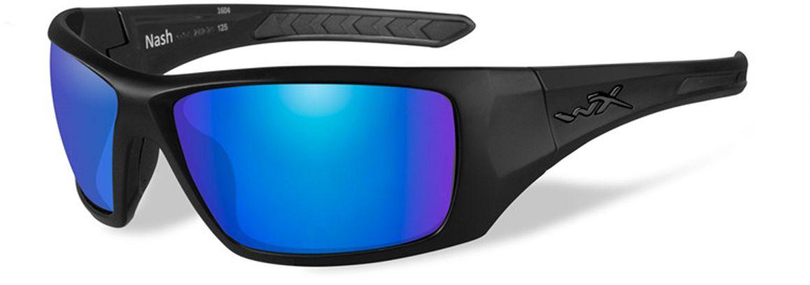 """Поляризованные зеркальные зелено-голубые линзы очков WileyX """"Nash Polarized"""" поглощают отражения на зеркальных поверхностях, уменьшают блики и идеально подходят для активного отдыха в яркие дни с высоким уровнем освещенности. Линзы Wiley X, изготовленные из безосколочного поликарбоната с устойчивостью к царапинам, обеспечивают 100% УФ-защиту.Поляризационный фильтр 8ТМ - запатентованная WileyX технология поляризации линз обеспечивает 100% поляризацию и 100% защиту от ультрафиолетовых лучей для непревзойденной четкости и контрастности изображения.Защита от ударов на высокой скорости - оправа и линзы должны выдерживать удар тяжелого снаряда весом 500 г, падающего с высоты 127 см.Прочное покрытие - устойчивое к царапинам покрытие защищает линзы от механических повреждений и продлевает срок их службы.Антибликовое покрытие - антибликовое покрытие устраняет нежелательные отражения с поверхностей линз. Водоотталкивающее покрытие - водоотталкивающее покрытие обеспечивает скатывание воды с поверхности линз. Используется только на поляризационных линзах."""