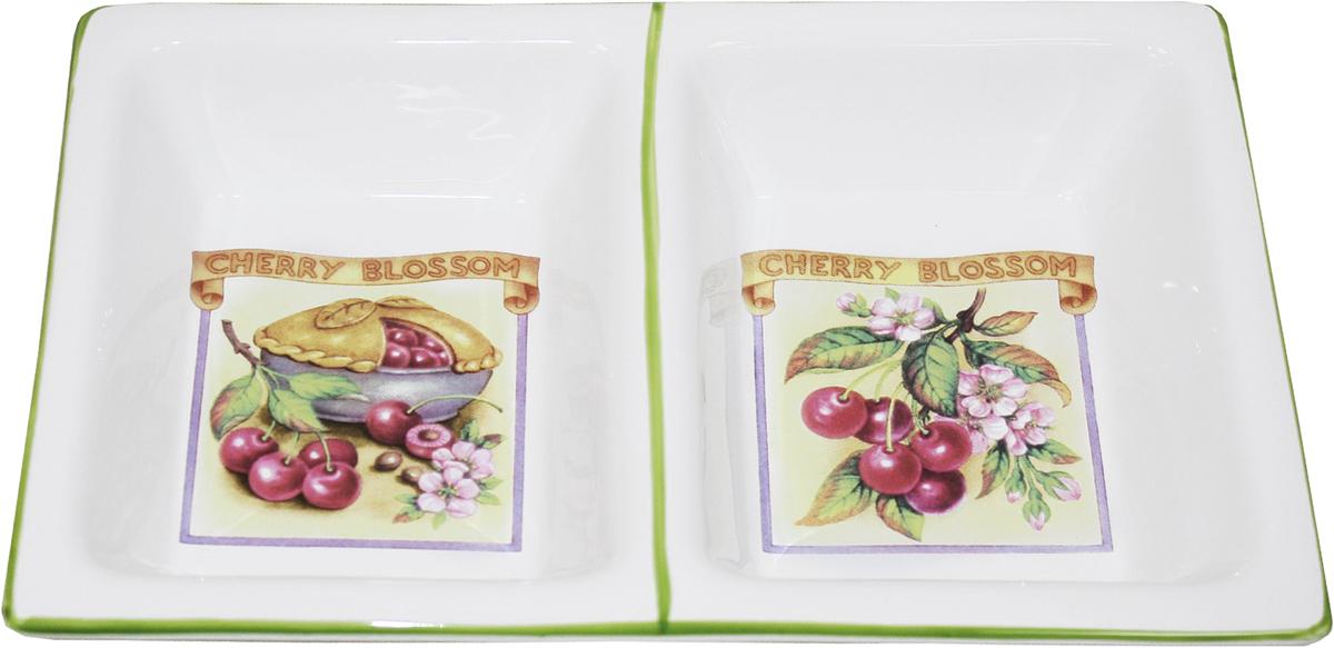 Менажница Azulejo Espanol Ceramica Сиеста, 2 секции, 24 х 15 см01-005Менажница Azulejo Espanol Ceramica Sunny Flowers сочетает в себе кухонную практичность и декоративную утонченность.Менажница оформлена художественной печатью и станет отличным украшением вашего интерьера.
