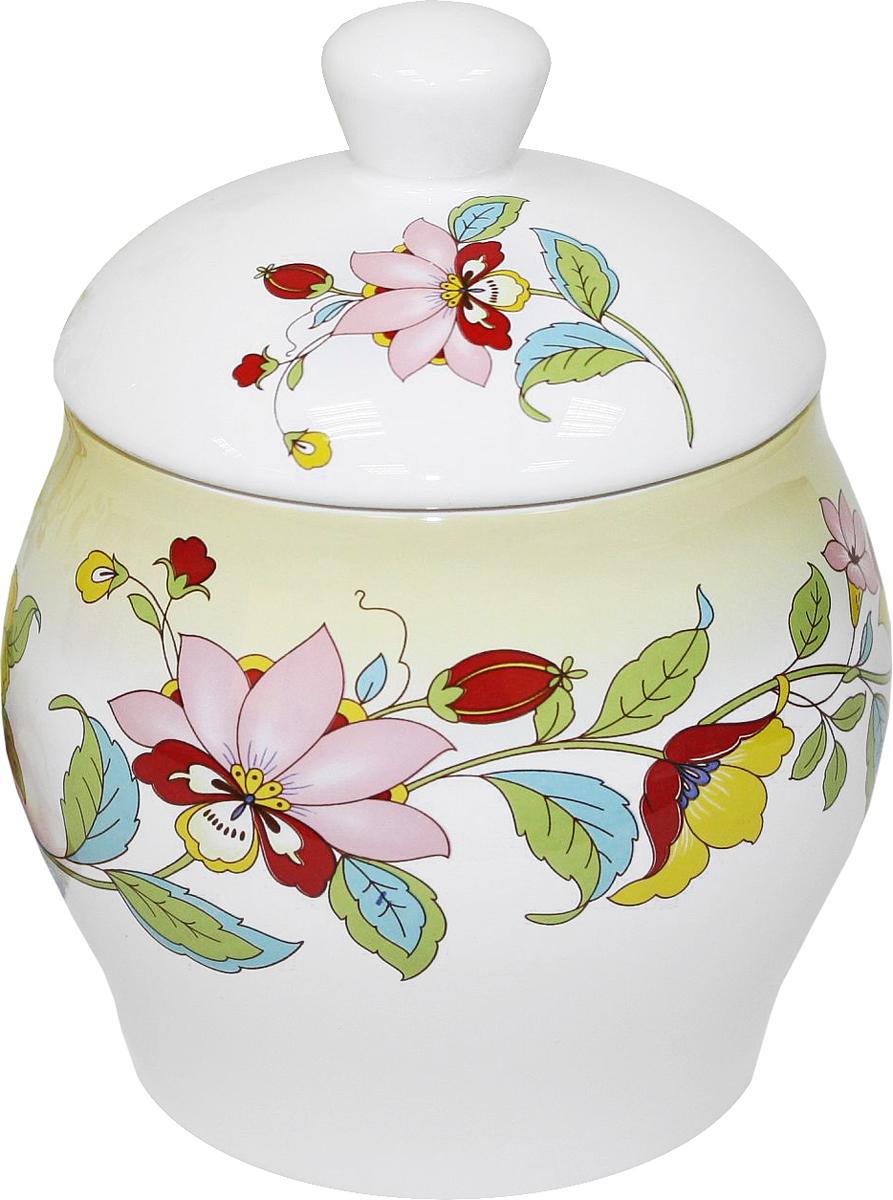 """Банка для сыпучих продуктов  Azulejo Espanol Ceramica """"Sunny Flowers"""" изготовлена из керамики, покрытой слоем сверкающей гладкой глазури. Изделие оформлено красочным изображением.  Банка прекрасно подойдет для хранения различных сыпучих продуктов: чая, кофе, сахара, круп и многого другого. Крышка герметично закрывается, что позволяет дольше сохранять продукты свежими.  Изящная емкость не только поможет хранить разнообразные сыпучие продукты, но и стильно дополнит интерьер кухни."""