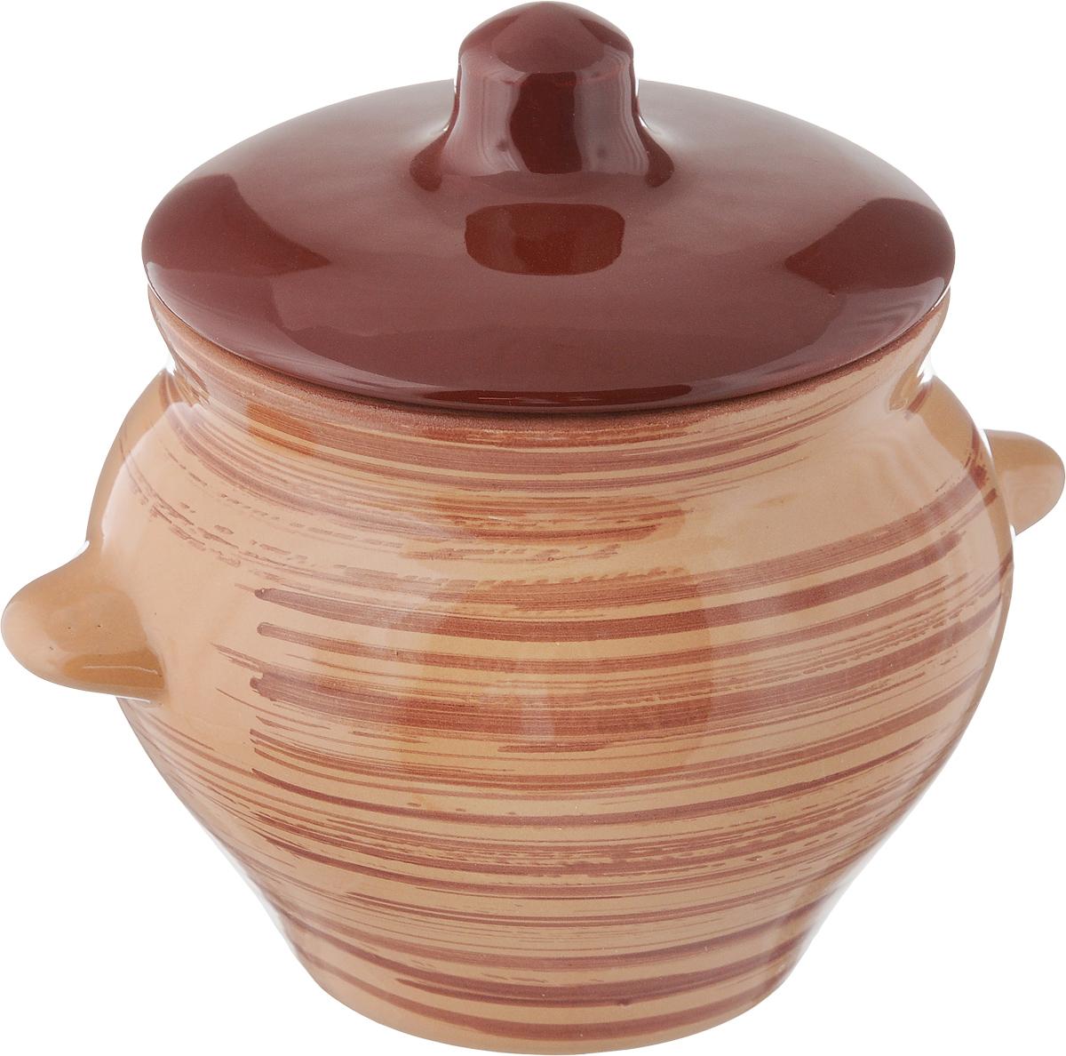Горшок для жаркого Борисовская керамика Cтандарт. Полосы, 500 млGR3056_зеленыйГоршок для жаркого Борисовская керамика Cтандарт выполнен из высококачественной глазурованной керамики и декорирован пполосками. Керамика абсолютно безопасна, поэтому изделие придется по вкусу любителям здоровой и полезной пищи.Горшок для запекания с крышкой очень вместителен и имеет удобную форму. Идеально подходит для одной порции. Уникальные свойства красной глины и толстые стенки изделия обеспечивают эффект русской печи при приготовлении блюд. Это значит, что еда будет очень вкусной, сочной и здоровой. Посуда жаропрочная. Можно использовать в духовке и микроволновой печи. Диаметр горшочка (по верхнему краю): 9,5 см.Высота (без учета крышки): 9 см.