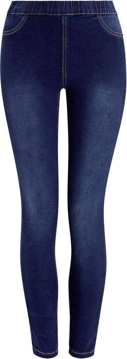 Джинсы женские oodji Ultra, цвет: темно-синий джинс. 12104043-5B/45468/7900W. Размер 26-32 (42-32)12104043-5B/45468/7900WДжинсы-легинсы из тянущегося денима без застежки. Модель с эластичным поясом, двумя боковыми и двумя задними карманами. Легинсы выгодно подчеркивают ноги и визуально их удлиняют. Хлопок с вискозой и эластаном хорошо тянется, не сковывает движений, приятен на ощупь, дышит и не раздражает кожу. Такие джинсы удобно носить целый день. Джинсы-легинсы с высокой талией – идеальный вариант для тех, кто ценит стиль и комфорт. Благодаря отсутствию застежки и эластичному поясу модель удобно и быстро надевается. Простота дизайна позволяет использовать легинсы в качестве основного элемента для создания луков в стиле casual. Они будут прекрасно смотреться с удлиненными принтованными блузками свободного силуэта и джемперами фактурной вязки. В этих случаях из обуви подойдут босоножки или балетки. Для повседневных луков с джинсами и футболками можно подобрать кеды или слипоны. Эта базовая модель универсальна – ее можно комбинировать практически с любой вещью из вашего гардероба. Вы полюбите эти джинсы-легинсы с эластичным поясом за их функциональность и комфортность.