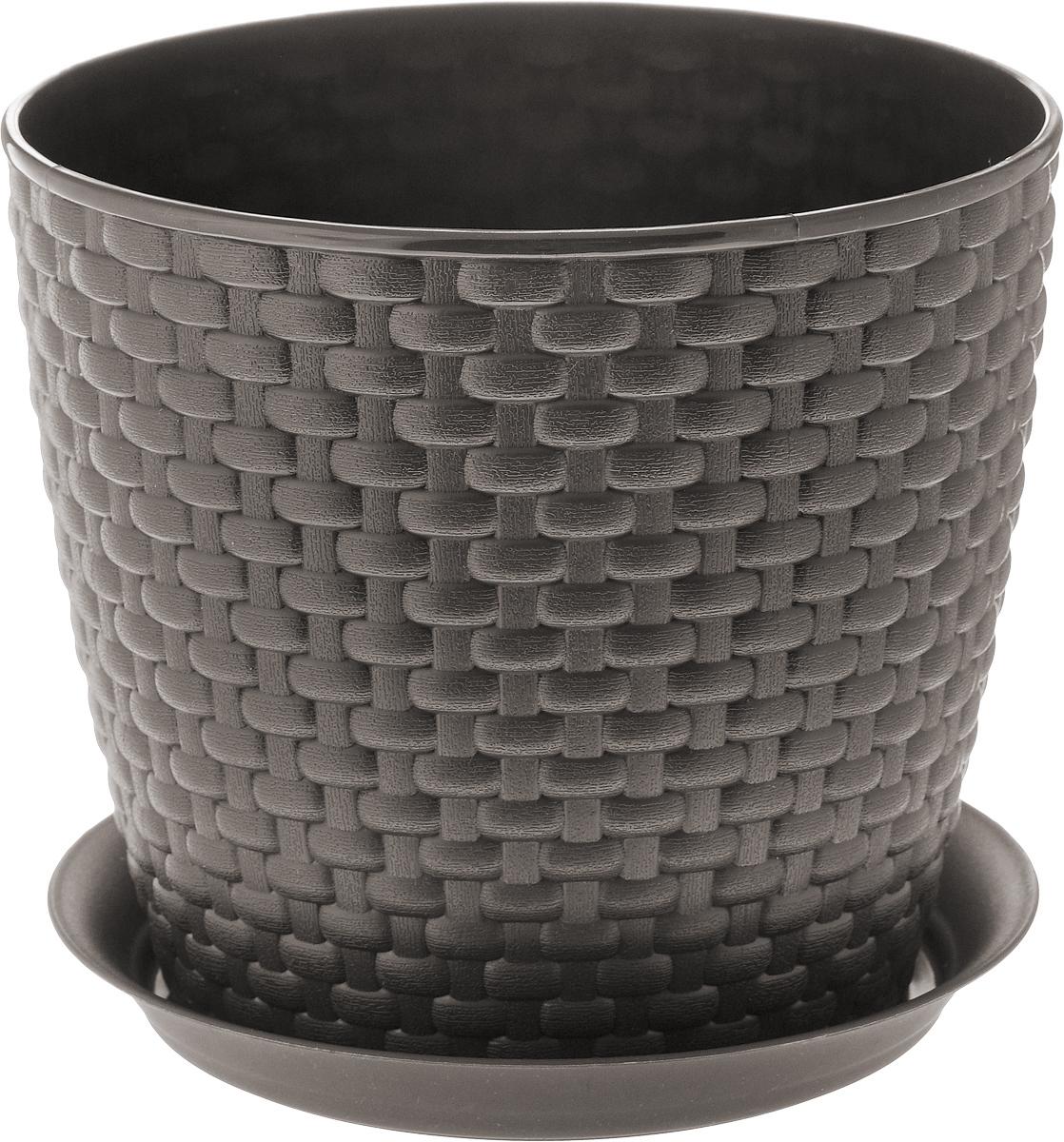 Кашпо Idea Ротанг, с поддоном, цвет: коричневый, 3 лМ 3082_коричневыйКашпо Idea Ротанг изготовлено из высококачественного пластика. Специальный поддон предназначен для стока воды. Изделие прекрасно подходит для выращивания растений и цветов в домашних условиях. Лаконичный дизайн впишется в интерьер любого помещения. Диаметр поддона: 18 см. Объем кашпо: 3 л.Диаметр кашпо по верхнему краю: 18 см.Высота кашпо: 16 см.