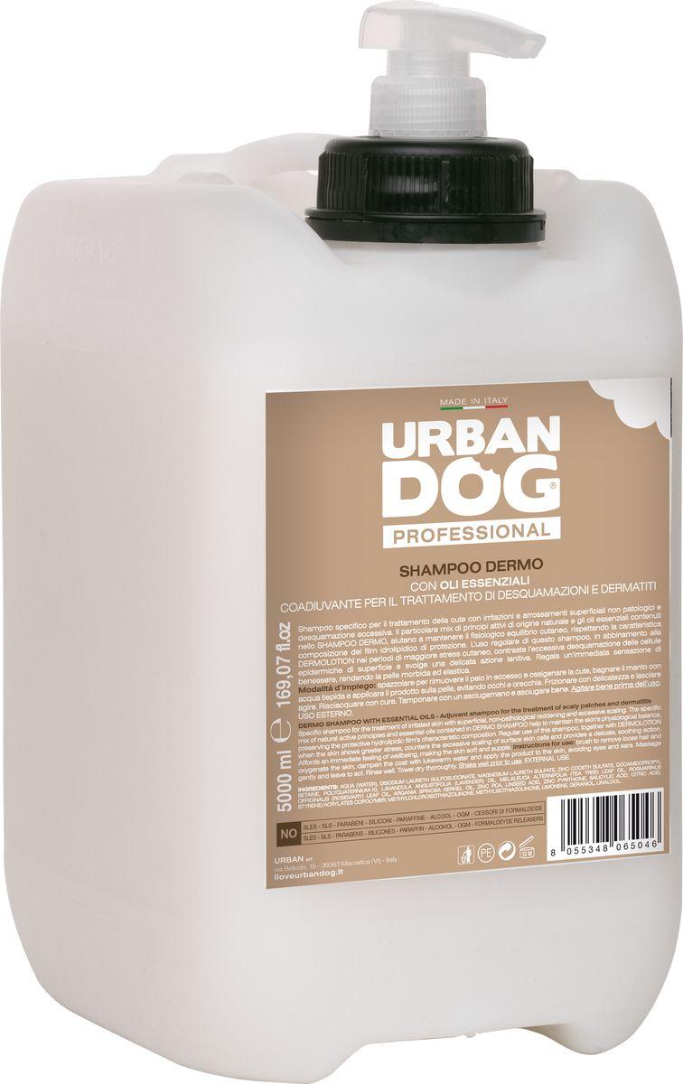 Шампунь для собак Urban Dog, от дерматитов, перхоти и шелушения, 5 лUD204TDEСпециальный шампунь для ухода за кожей с раздражением и непатологическими поверхностными покраснениями, а также излишним шелушением. Особая смесь активных веществ естественного происхождения и эфирных масел в составе шампуня помогает поддерживать физиологический баланс кожи за счет сохранения характерных свойств защитной гидролипидной пленки. Регулярное использование DERMO шампуня в сочетании с лосьоном DERMOLOTION в периоды наибольшего стресса кожи оказывает противодействие излишнему отшелушиванию поверхностных клеток эпидермиса и оказывает мягкое успокаивающее действие. Дарит мгновенное ощущение хорошего самочувствия, делает кожу мягкой и упругой.