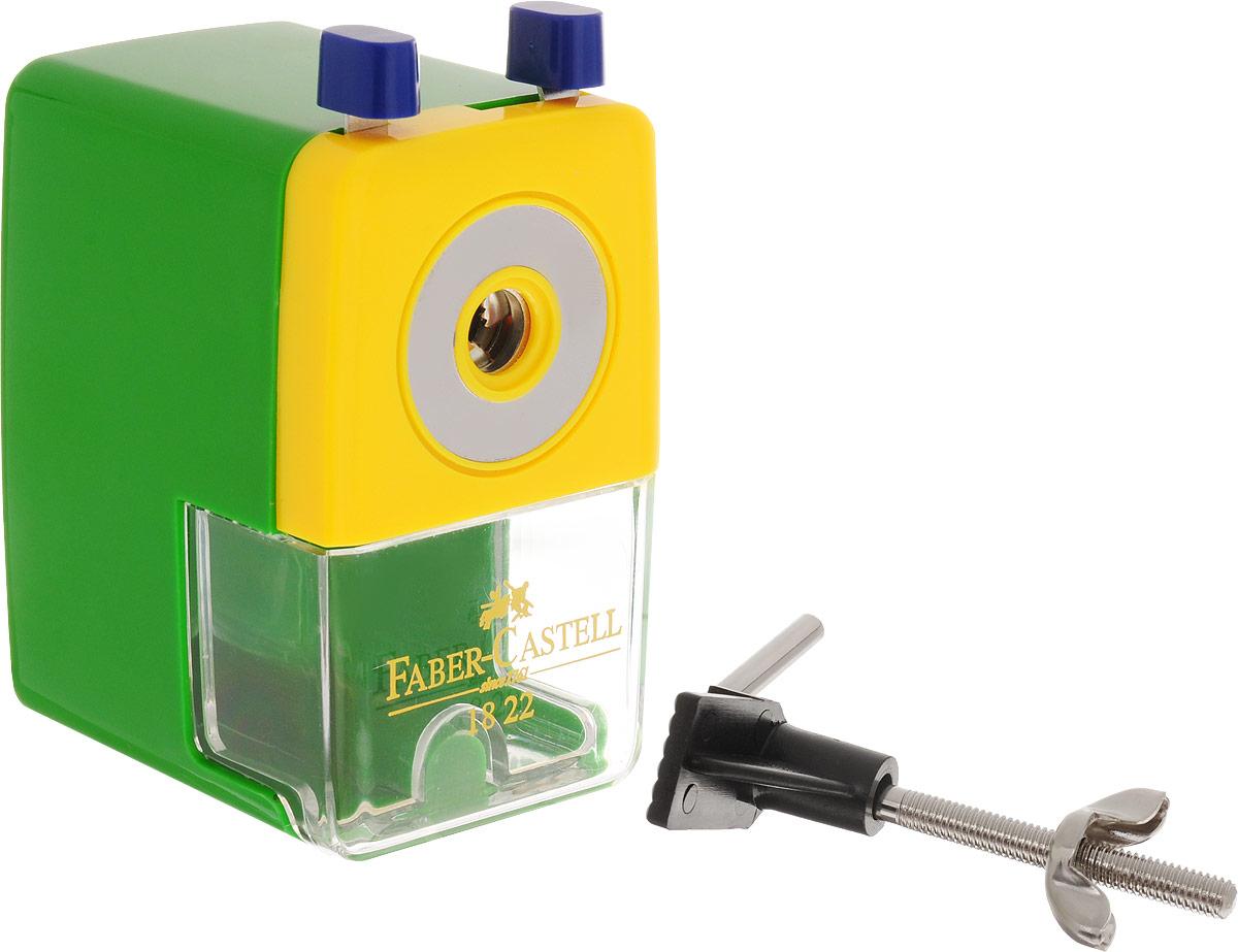 Faber-Castell Точилка настольная цвет зеленый582200_зеленыйТочилка Faber-Castell - удобный и практичный инструмент в повседневной офисной работе.Точилка из высококачественного пластика оснащена рукояткой с механизмом кругового вращения и съемным контейнером для стружки. Вращающийся, остро заточенный металлический нож точилки обеспечивает бережную и качественную заточку круглых, шестигранных и трехгранных карандашей.В комплекте с точилкой предусмотрено крепление к столу.