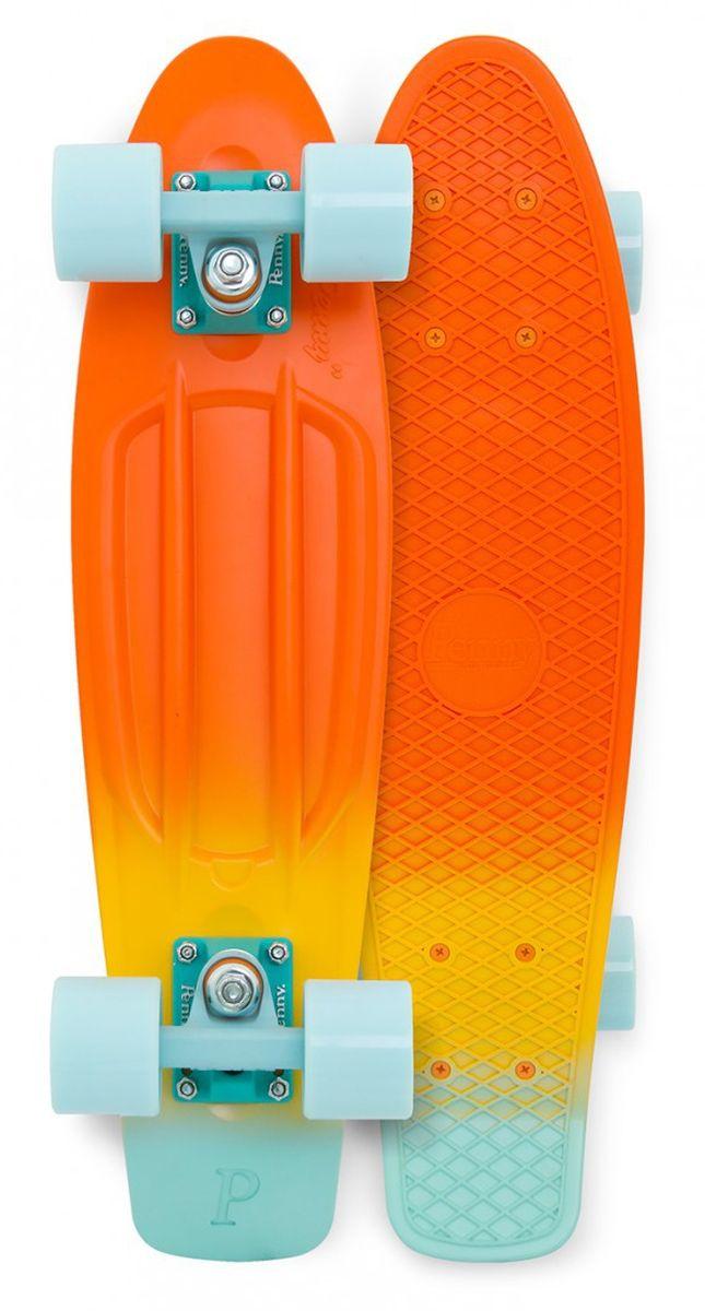 Пенни борд Penny Original, цвет: оранжевый, желтый, светло-голубой, дека 57 х 15 см пенни борд penny nickel цвет slater дека 27