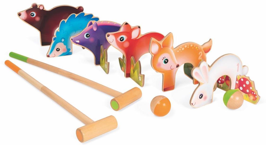 Janod Игровой набор Крокет Лесные животные - Игры на открытом воздухе