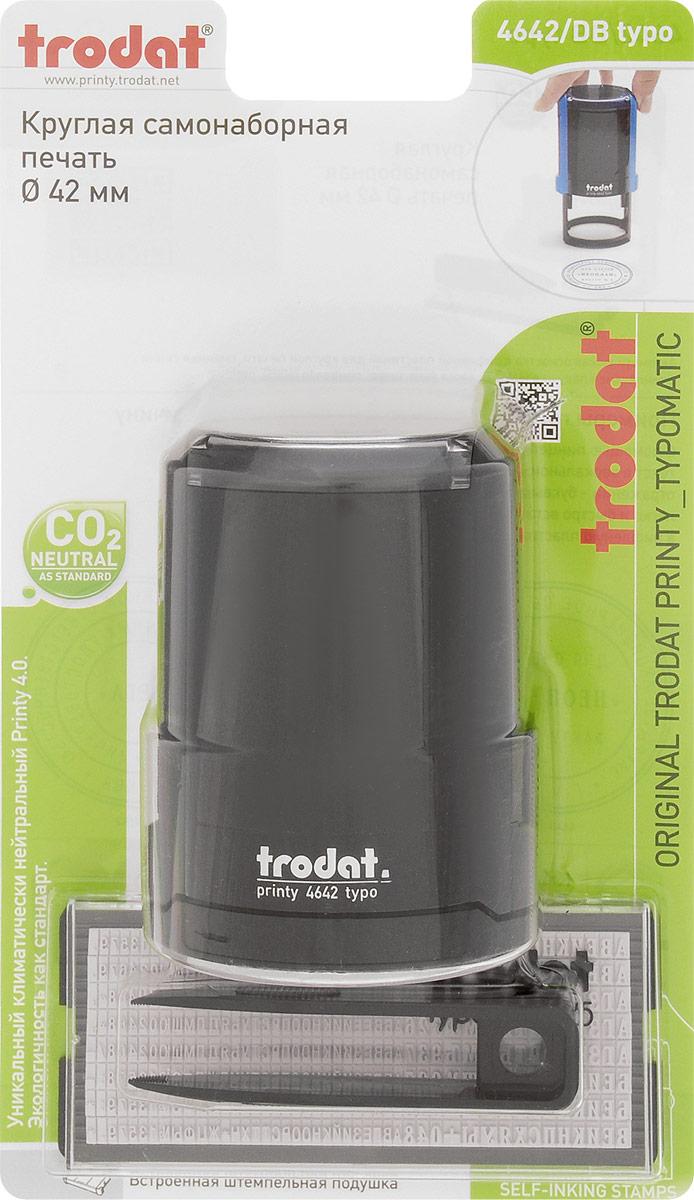 Trodat Печать самонаборная Typo-R1,5 цвет черныйC37028_черныйСамонаборная печать Trodat имеет прочный пластиковый корпус и автоматическое окрашивание.Используется для набора круглых печатей для внутреннего использования. Круглая рифленая пластина с кругами и горизонтальными строками.В комплекте: пинцет, касса букв, цифр и символов, сменная синяя штемпельная подушка - 1,5 круга. Диаметр - 42 мм.