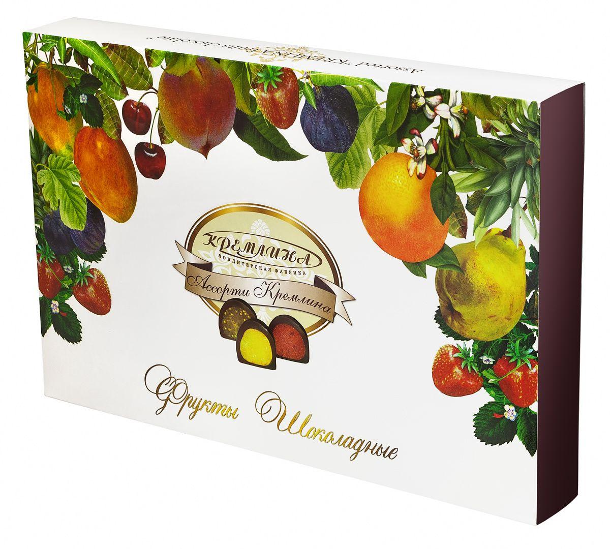 Кремлина Ассорти Фрукты шоколадные, 500 г (коробка) кремлина ассорти фрукты и орехи в шоколаде 250 г