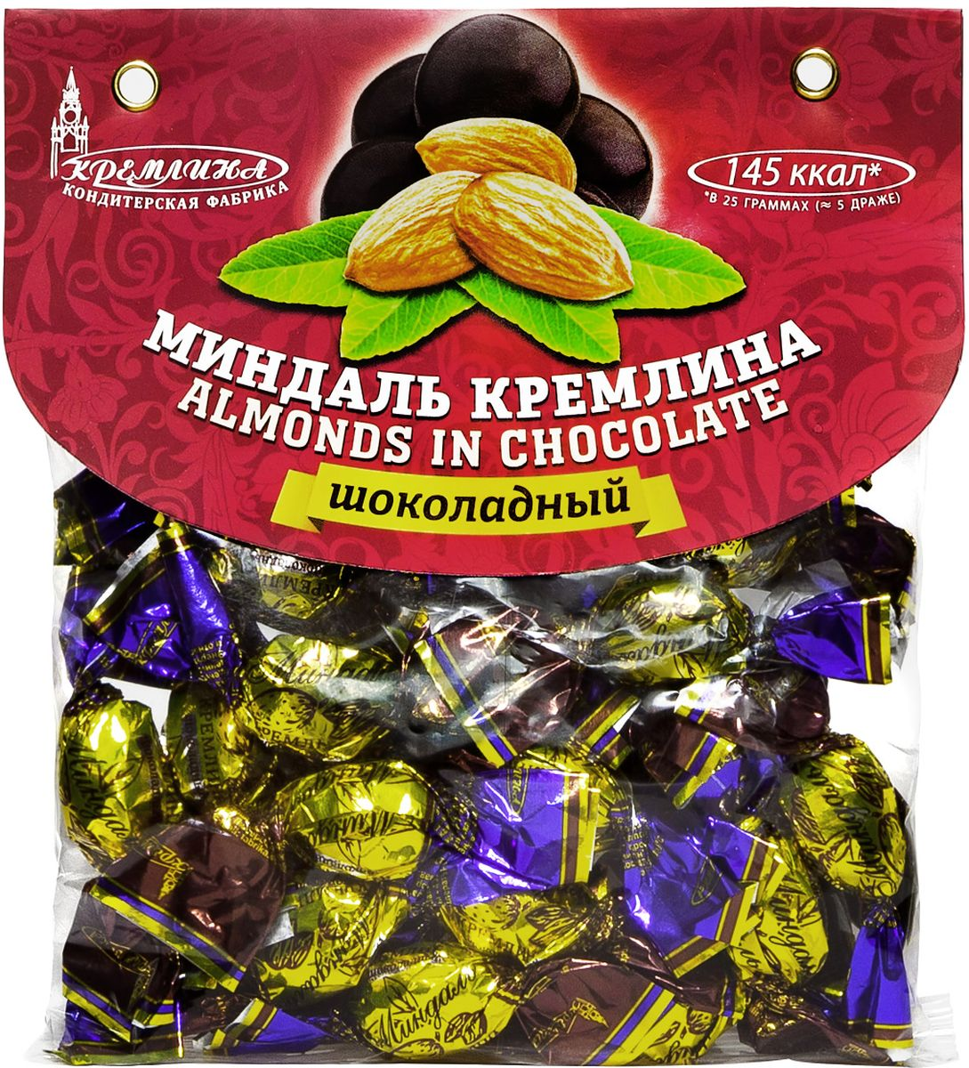 Кремлина Миндаль в шоколаде, 135 г4607039271058Полезные свойства миндаля известны всем.Сочетая прекрасный вкус, большое количество масел и минералов, миндаль в шоколаде может стать приятным и здоровым перекусом для вас